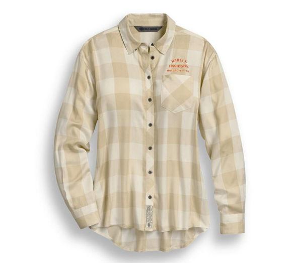 Front view of womens buffalo plaid shirt