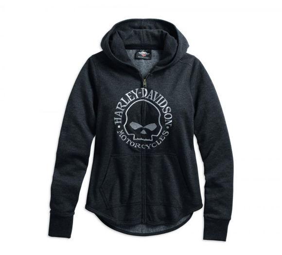 Front view of womens metallic skull hoodie