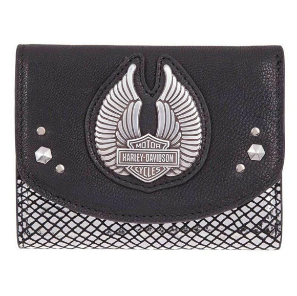 Front view of womens winged disco wallet