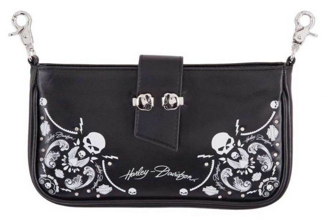 Front view of womens willie g skull bandana pouch leather hip bag