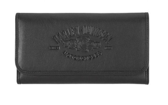 Front view of womens wicked roses black leather wallet