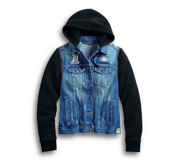 womens zip off sleeve denim jacket