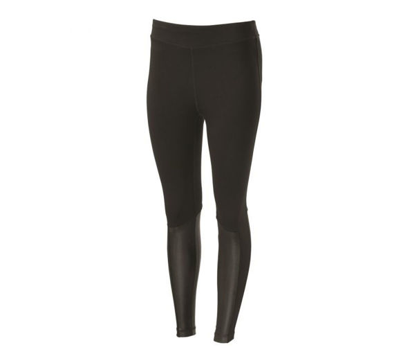 Front view of womens leather accent mid rise leggings