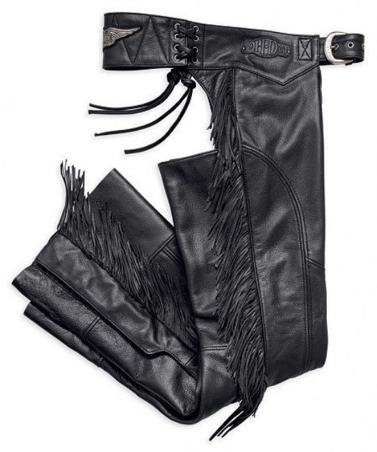 Front view womens boone fringed leather chaps