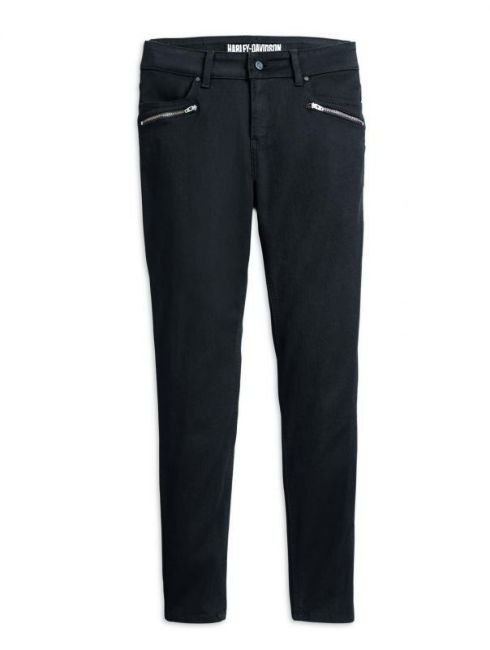 Front view of womens skinny black mid rise jeans