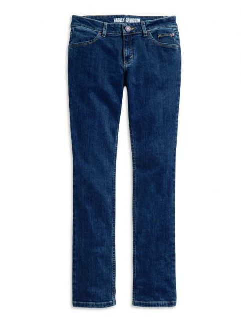 Front view of womens straight leg mid rise jeans