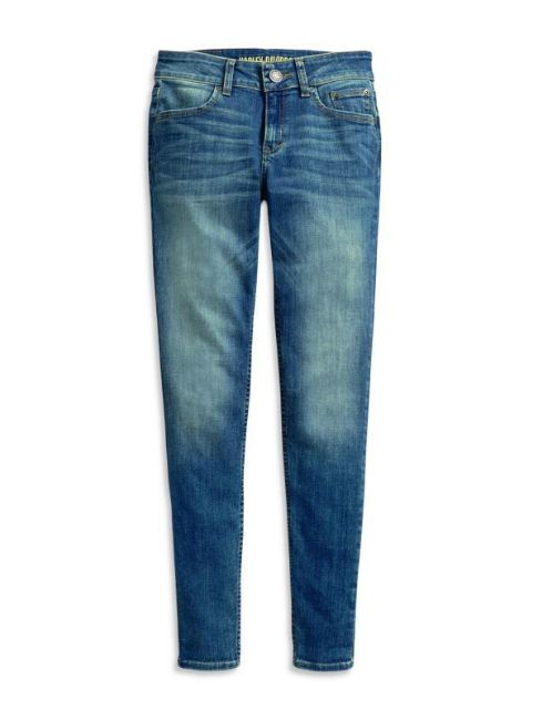 Front view of womens skinny mid rise jeans