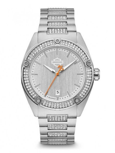 Front view of womens crystal embellished stainless steel watch