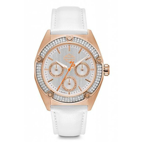 Front view of womens rose gold tone stainless steel watch