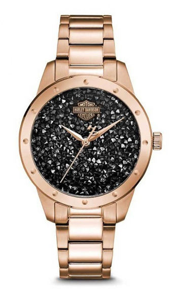 Front view of womens black crystal rock sparkles stainless steel watch