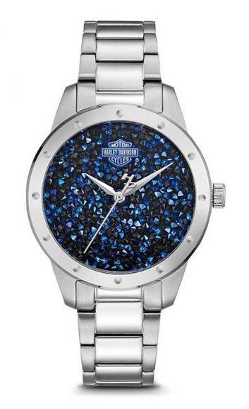 Front view of womens blue crystal rock sparkles stainless steel watch