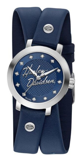 Front view of womens crystal double wrap leather watch
