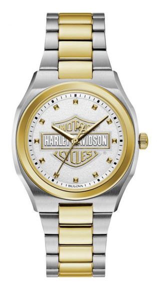 Front view of womens bulova silver gold stainless steel watch