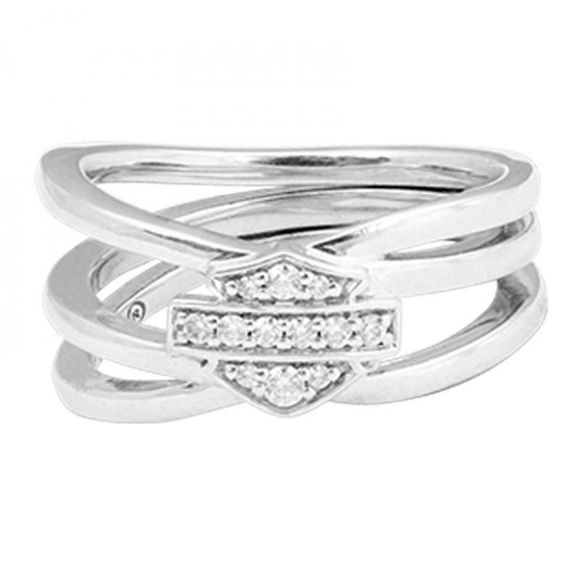 Front view of womens twisted bling bar shield ring