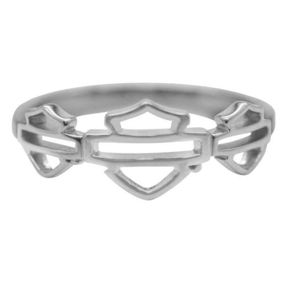 Front view of womens multiple outline bar shield ring