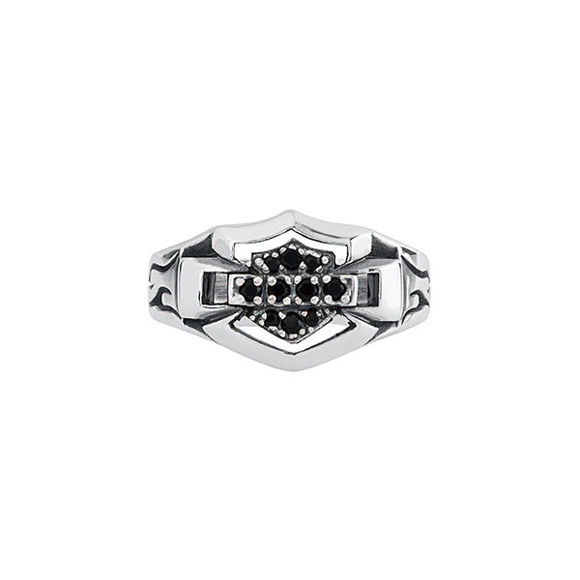 womens silver and onyx ring
