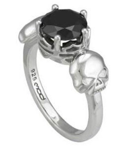 womens silver skull black stone ring