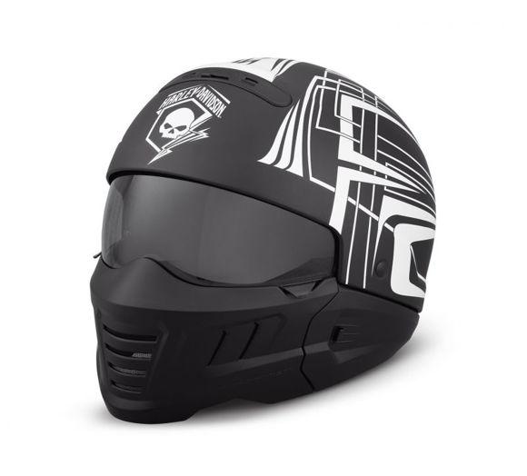 Front view of skull lightning 2 in 1 helmet
