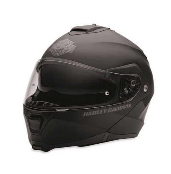 Front view of capstone modular flip helmet black