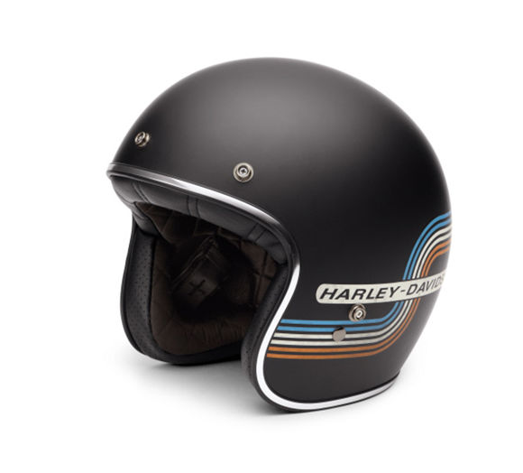 Front view of retro tank stripe 34 helmet