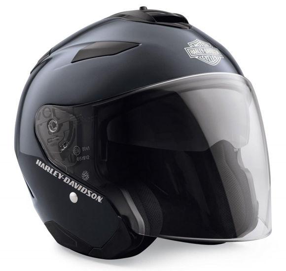 Front view of maywood interchangable sun shield 34 helmet blue