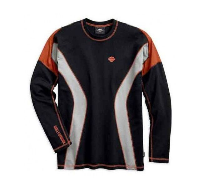 Front view of mens performance long sleeve tee with coolcore technology