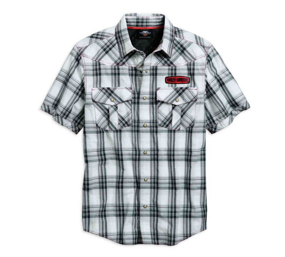 Front view of mens performance plaid vented shirt