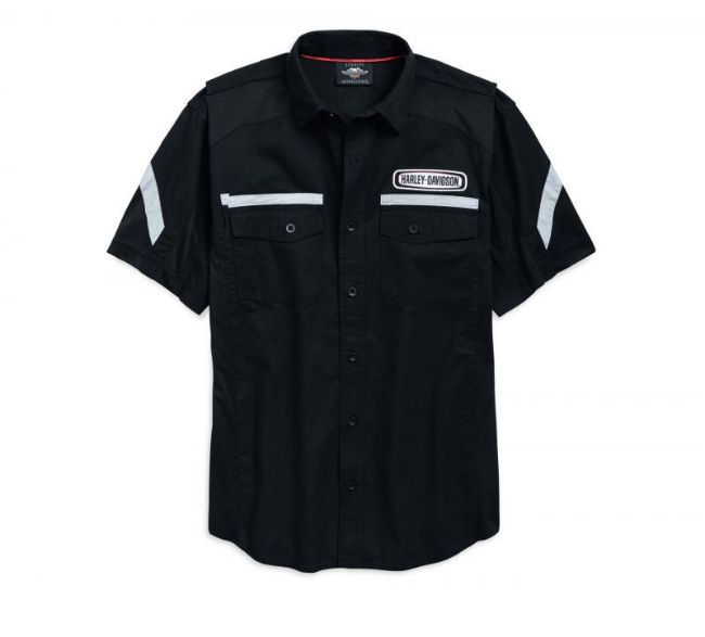 Front view of mens performance action back shirt