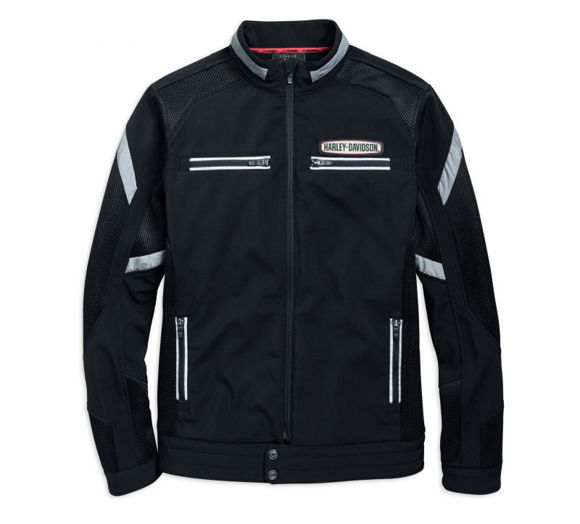 Front view of mens performance soft shell mesh jacket