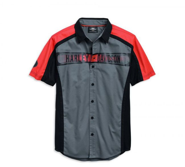 Front view of mens performance colour blocked shirt