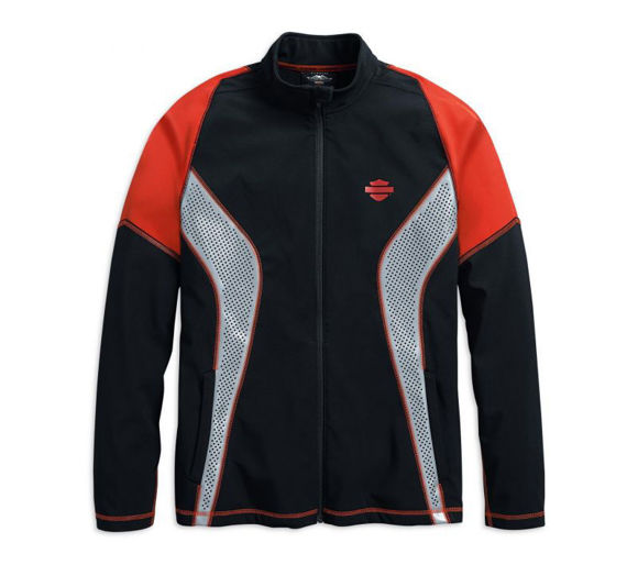 Front view of mens performance soft shell jacket