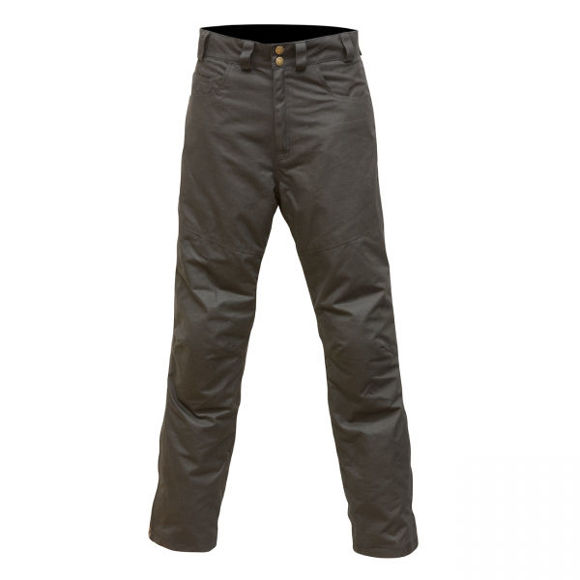Front view of mens hulme wax trousers