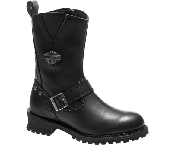 Front view of mens bladen leather boots black