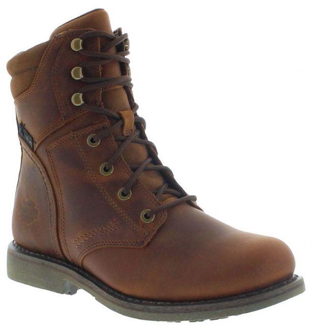 Front view of mens darnel biker boots brown