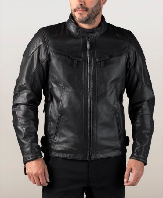Front view of mens fxrg triple vent waterproof leather jacket