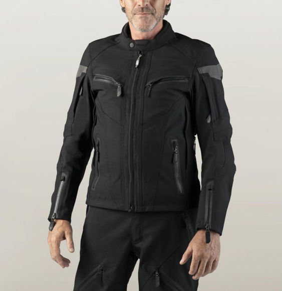 Front view of mens fxrg textile waterproof riding jacket