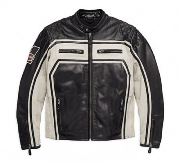 Front view of mens endurance buffalo leather jacket