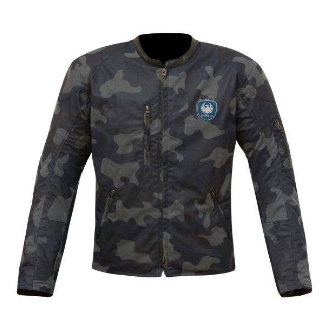 Front view of mens covert camo wax jacket