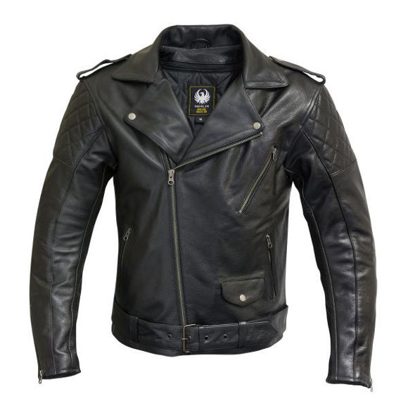 Front view of mens pilsbury leather jacket