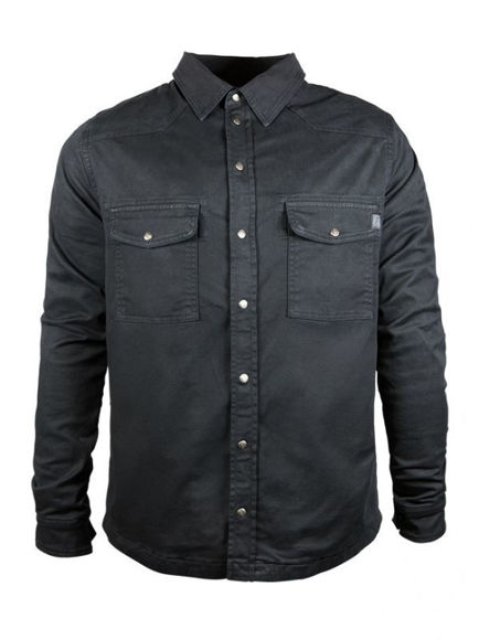 Front view of mens black motoshirt with xtm fiber