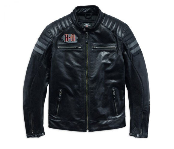 Front view of mens hutto leather jacket
