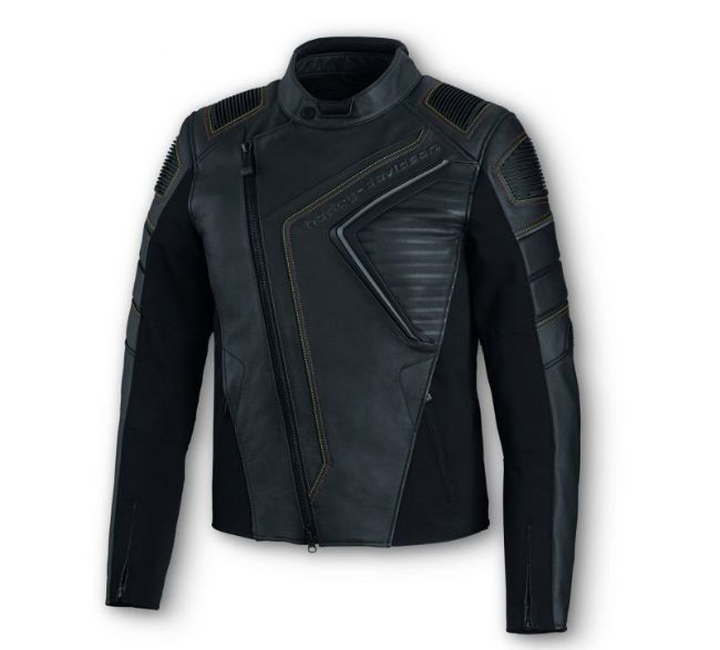 Front view of mens watt leather riding jacket