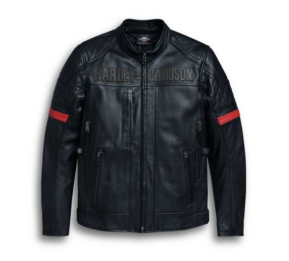 Front view of mens vanocker waterproof triple vent system leather jacket