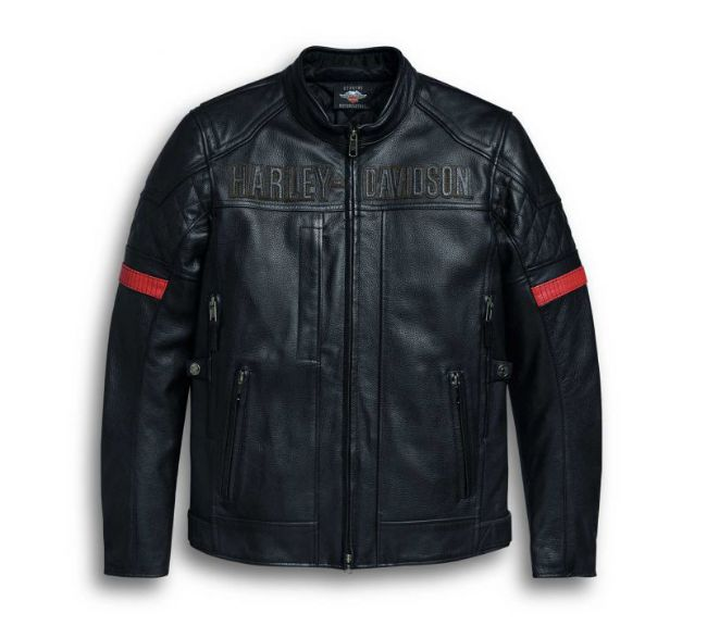 Front view of mens vanocker waterproof triple vent system leather jacket