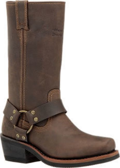 Front view of womens hustin riding boots brown