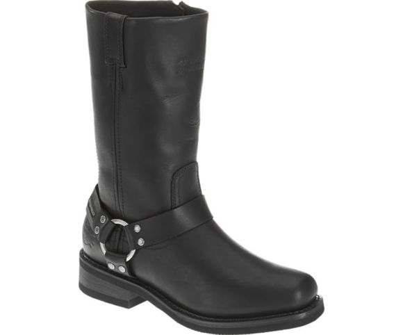 Front view of womens hustin riding boots black