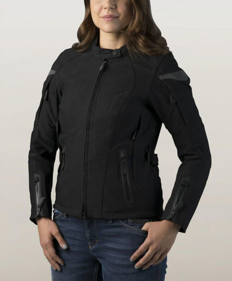 Front view of womens fxrg textile waterproof riding jacket