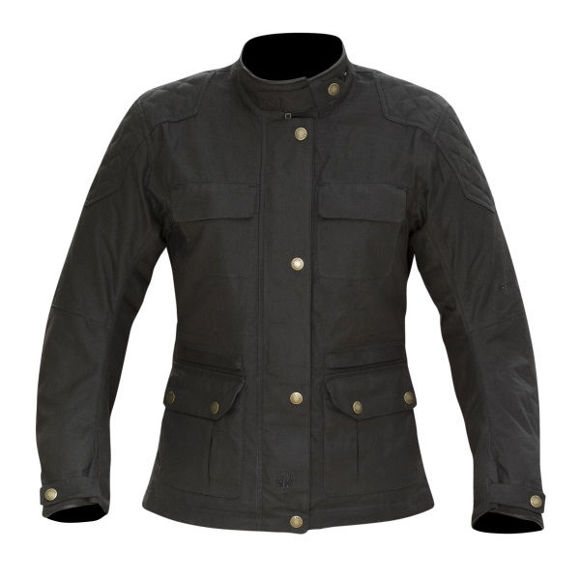 Front view of womens buxton wax jacket black