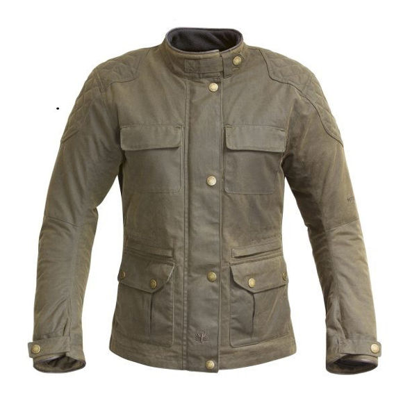 Front view of womens buxton wax jacket olive