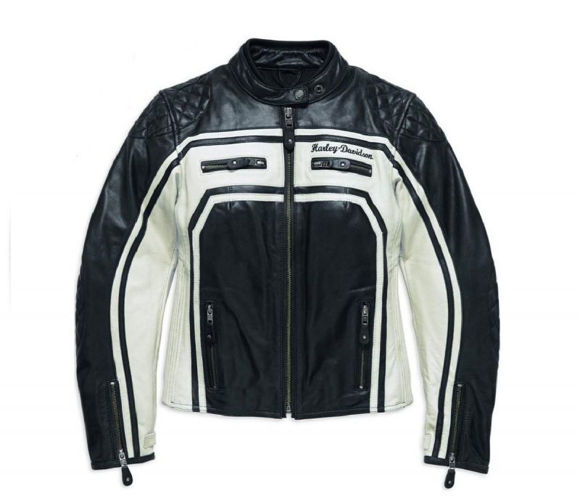 Front view of womens relay leather jacket